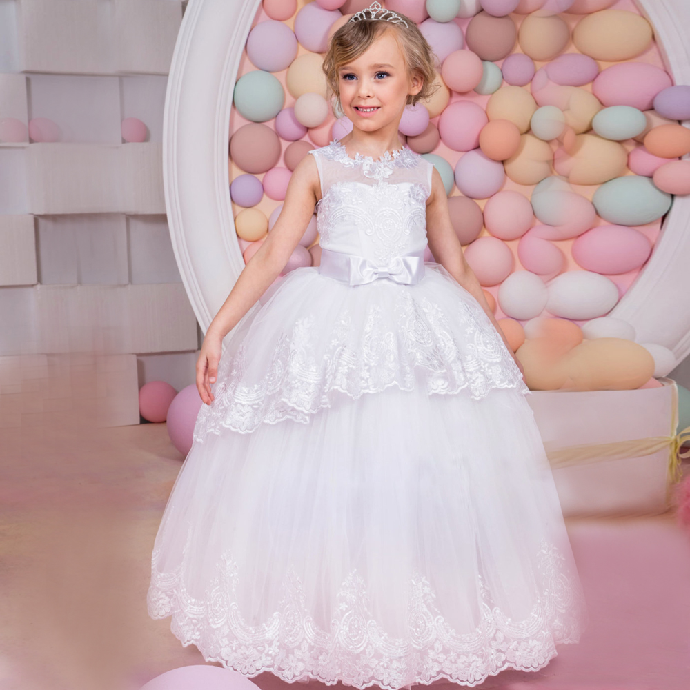Flower Girl Dresses Appliques Ball Gown Sleeveless Solid White and Ivory O-Neck Hot New Arrival First Communion Dresses for Girl