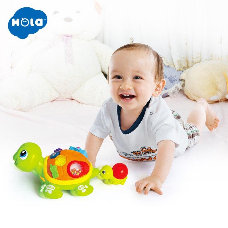HOLA 868 Parent-enfant tortue Interactive B/O électrique Animal Puzzle tortue bambin ramper bébé jouets pour 6M +