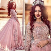 Luxury long sleeves abendkleider 2016 spitze appliques wulstige ballkleid Saudi-arabien Prom Kleider Vestido De Festa Longo