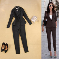2017 New Arrival Fashion Pants Suits Women Blazer 2 Two Piece Set Jacket Office Ladies Two Piece Set Suit jacket