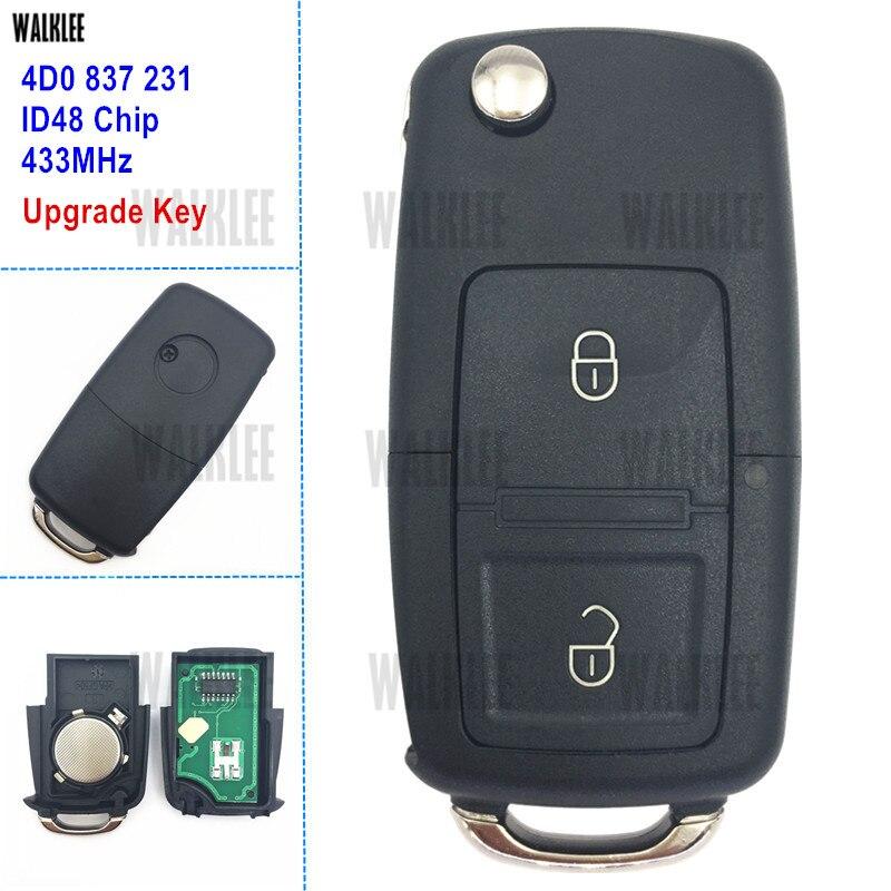 WALKLEE 4D0837231 4D0 837 231 Remote Key For Audi A2, A3/B5, A4, A4 Quattro,A6, A6 Quttro RS 1997 1998 1999 2000 2001 2002