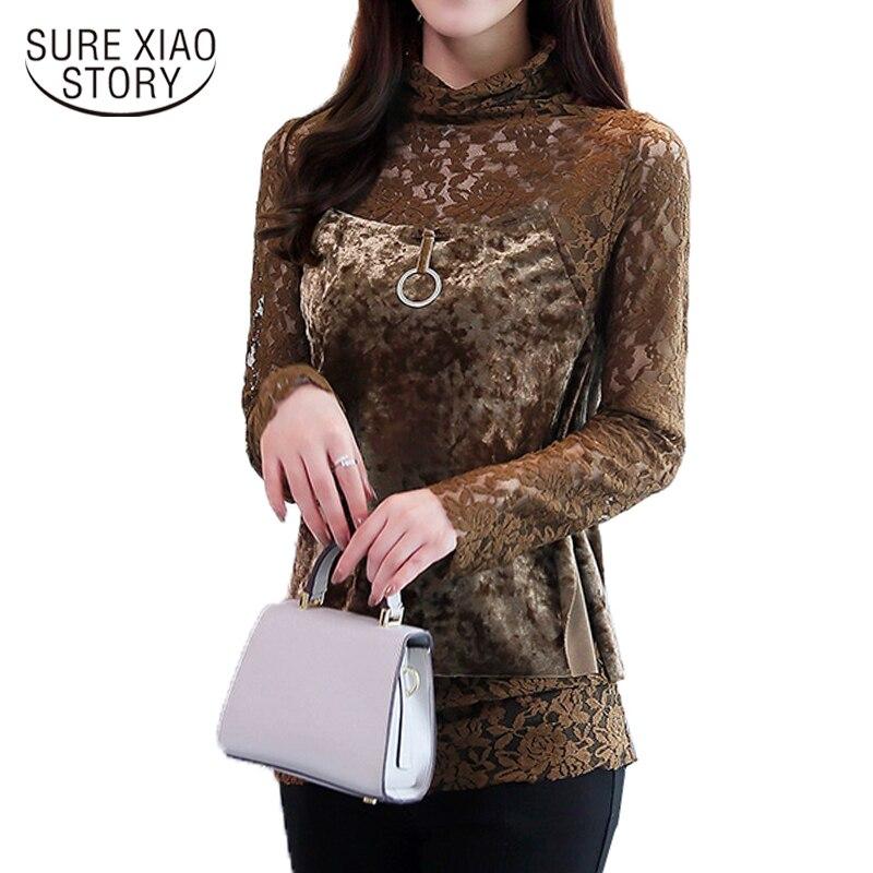 2017 new Korean fashion the two pieces of women lace   blouse     shirt   long-sleeved Net yarn velour casual women   shirt   blusas 879D 30