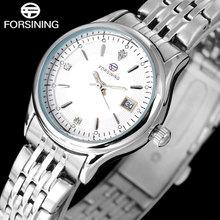 MODE 2016 FORSINING Q904 simple femmes montres de luxe marque d'affaires quartz En Acier Inoxydable montre Dames Montre DATE Strass