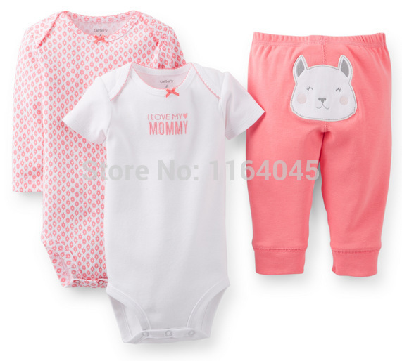 GSLL3-031, Original,Baby Girls 3-Piece Set , With 2 Pieces Bodysuits and 1 Piece Pants, Free Shipping