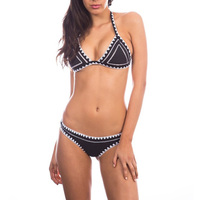 Handmade Crochet Swimwear 2017 New Bordered Trikini Brazilian Halter Biquini Women Micro Black Swimsuit Maillot De