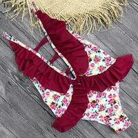 2018 Sexy One Piece Swimsuit Women Swimwear Print Monokini Swim Suit Ruffle Bodysuit Bathing Suit Backless Beach Wear Female 5