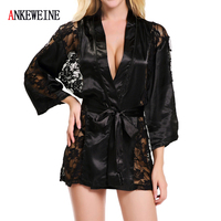 Ladies Sexy Lingerie Satin Lace Style Robes Night Gown Sexy Nightwear Mature Robe Wedding Bride Allure