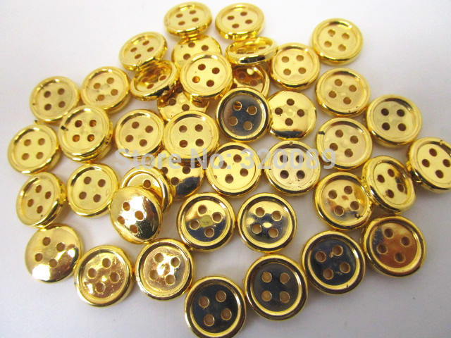 200pcs 13mm Resin Shiny Round Buttons Metallic Gold Baby Sewing Button For Scrapbooking Embellishments Garment Accessories