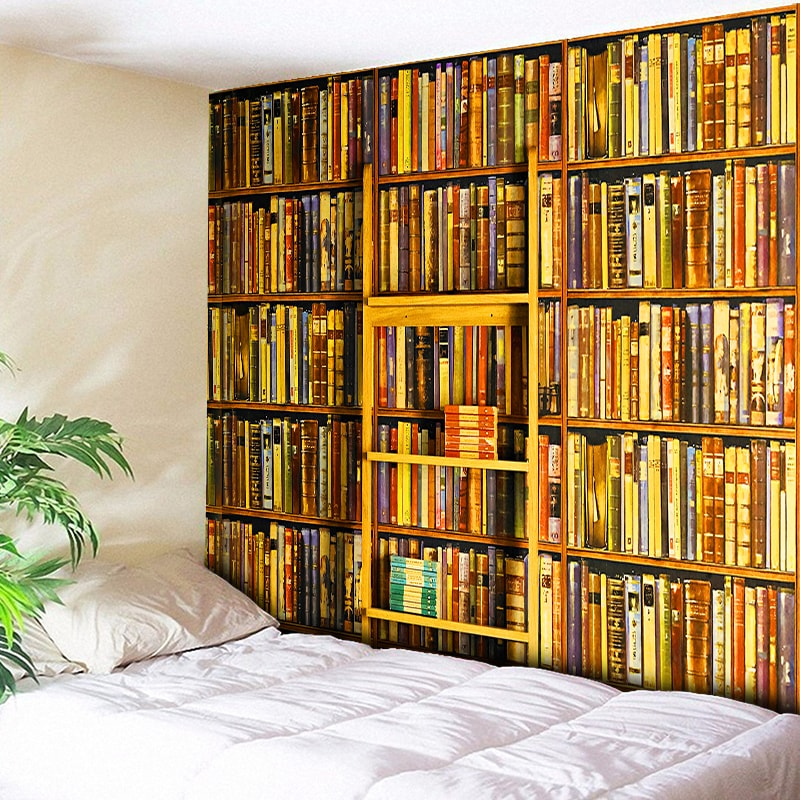 Bookshelf Full Of Books Print Decorative Wall Tapestry Hippie Wall Hanging for Bedroom - Bee Yellow - 230X150CM 130X150CM 5 Size