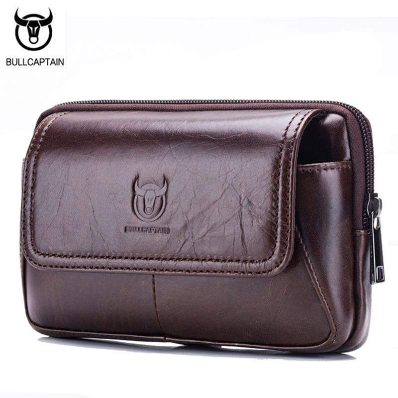 BULLCAPTAIN Μάρκα Ανδρική τσάντα μέσης για τηλέφωνο Γνήσιο δέρμα Casual Μικρή Ανδρική τσάντα Τσάντα Fanny Πακέτο Ζώνη Μοτοσυκλετιστής Τσάντα Τσάντα