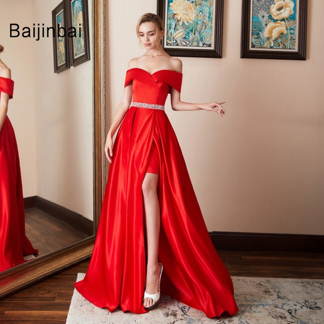 Sexy Off Shoulder Satin Long Red Prom Dresses 2019 Formal Party Dress For Graduation Customer Made