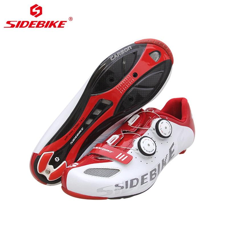 Chaussures de vélo de route pour hommes en Fiber de carbone professionnelle SIDEBIKE chaussures de vélo de cyclisme baskets de course athlétiques auto-bloquantes ultralégères