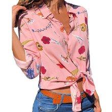 746d20d84 Long Sleeve Lapel Print Shirt Women Blouses Office Stripe Button Chiffon  Shirts Casual Tops Beach Plus Size Blusas Pink White