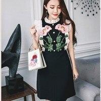 Ladies' Elegant Sleeveless Ruffled Lace Mini Dresses Casual Flower Embroidered Office Black Slim Dress Vestidos