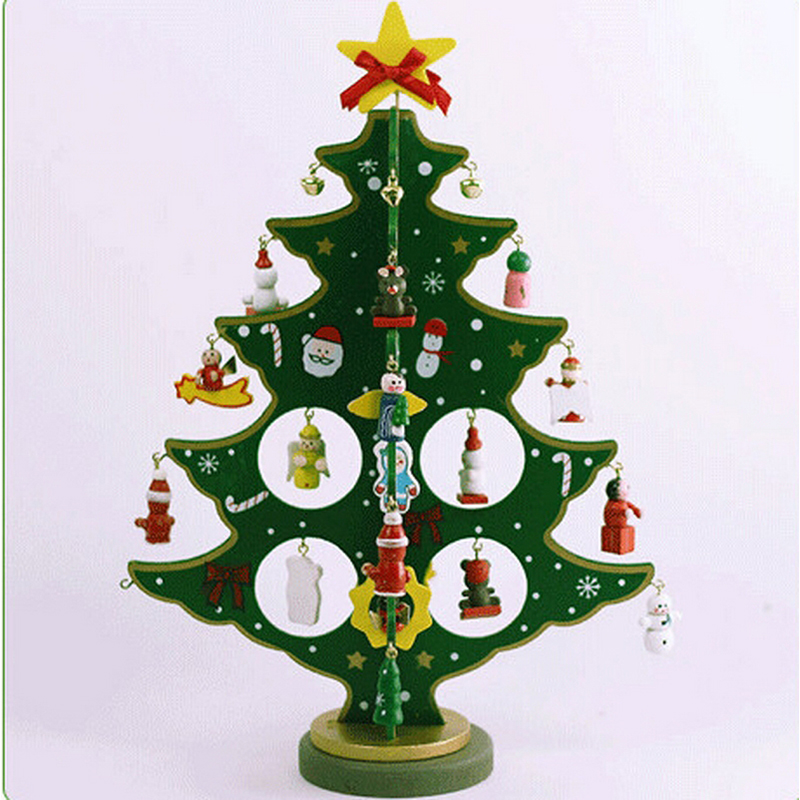 Buy mini artificial wooden christmas tree for Artificial christmas decoration tree