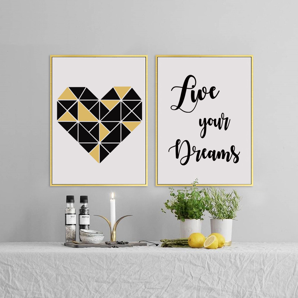 New Arrival Diy Wall Art Geometry Heart Unframed Canvas Painting For Living Room Decoration Home Decor Canvas Painting Painting For Living Roomwall Art Aliexpress