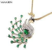 VANAXIN CZ Kristal Peacock Kolye Kolye Kadınlar için Kadın Altın/Şerit Rengi Yeşil Nano Kuyruk Tüyler Charms Sevimli Takı hediye