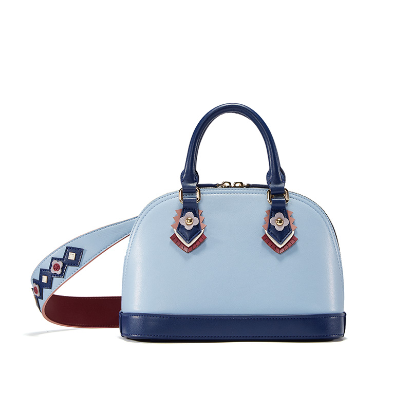 Fashion Napa pattern leather fashion smart tide wide shoulder strap women leather handbags shell women shoulder Messenger bag