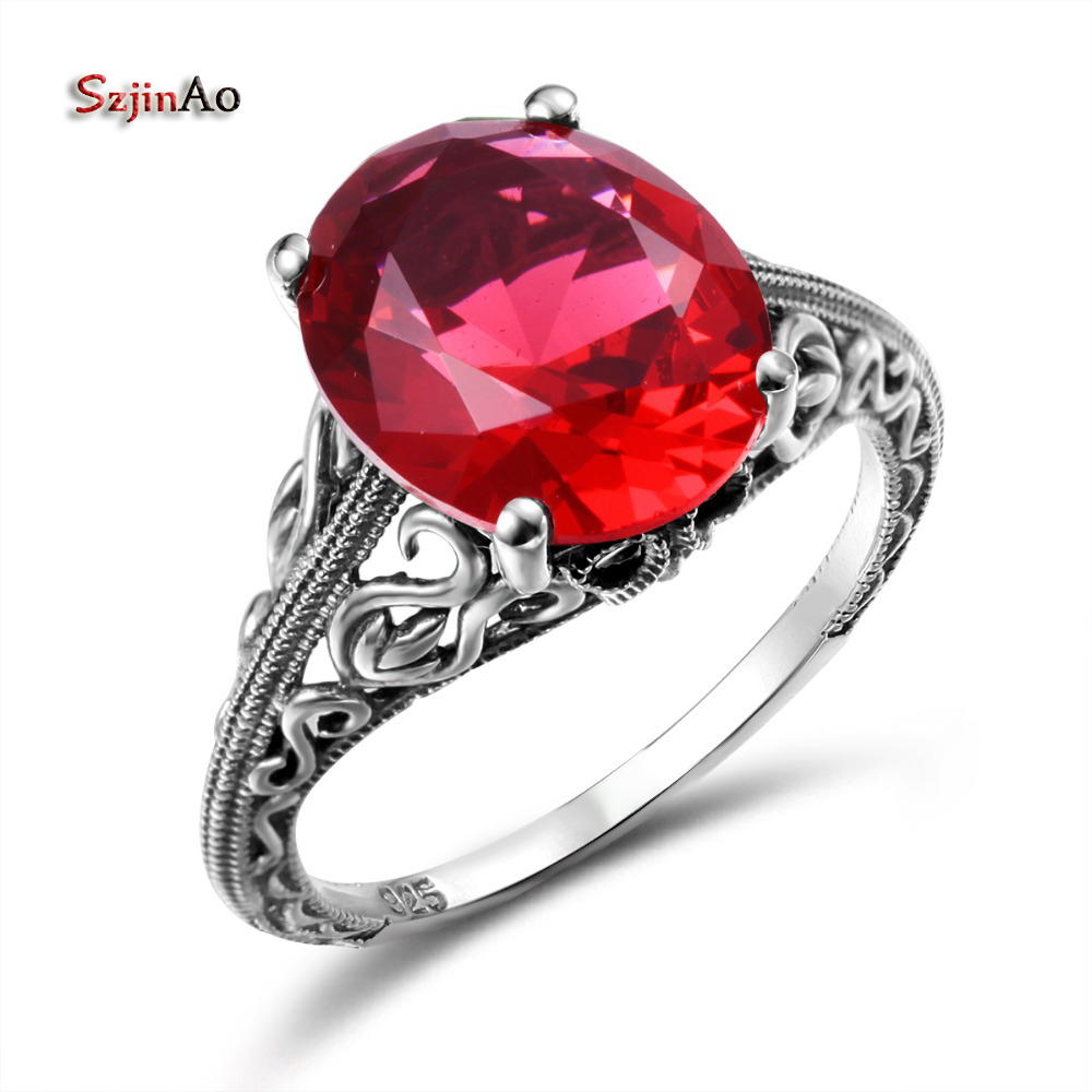 Szjinao Ruby Ring S925 Atlantis Bohemian Dragon Rings gemstone Jewelry Sterling Silver For Women Solid Oval Retro Big Discoun