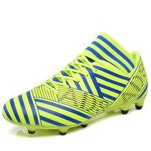 8c3b8f7d25 Novo 2018 Homens Sapatos de Futebol Ao Ar Livre Chuteiras de Futebol De  Grama Artificial Com
