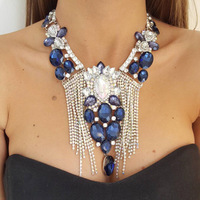 European Blue Red Crystal Waterdrop Flower Choker Statement Necklace 2018 Rhinestone Long Tassel Big Necklaces For