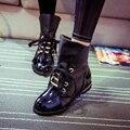Vogue Meninas Ankle Boots, Moda Lace-Up de Lazer Calçado, Estudantes de Rua Sexy Sapatos, Dedo Do Pé Redondo Clássico Martin Botas, Novos Designers