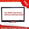 Nueva original del 100% prueba de pantalla táctil digitalizador de vidrio frontal para sony vaio pro 13 svp132a1cw svp132a1cl