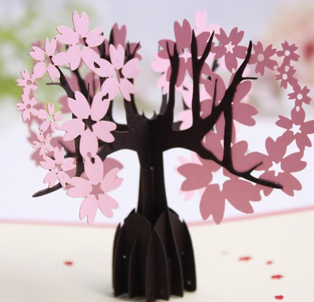 10pcs 3D Pink Skura Cherry Tree Handmade Kirigami Origami For Birthday Party Invitation Cards Greeding Postcard