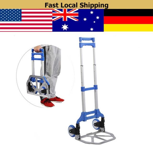 fe0bcbf192b2 US $25.75 13% OFF|80kg Folding Heavy Duty Luggage Trolley Foldable Hand  Truck Trolley 80kg Aluminium Alloy Luggage Carts Shopping Wheels-in Tool  Parts ...