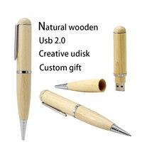 Chegam novas alta qualidade de madeira esferográfica caneta forma usb flash drives pen drive 64 gb 32 gb 16 gb 128 gb 4 gb flash memória vara