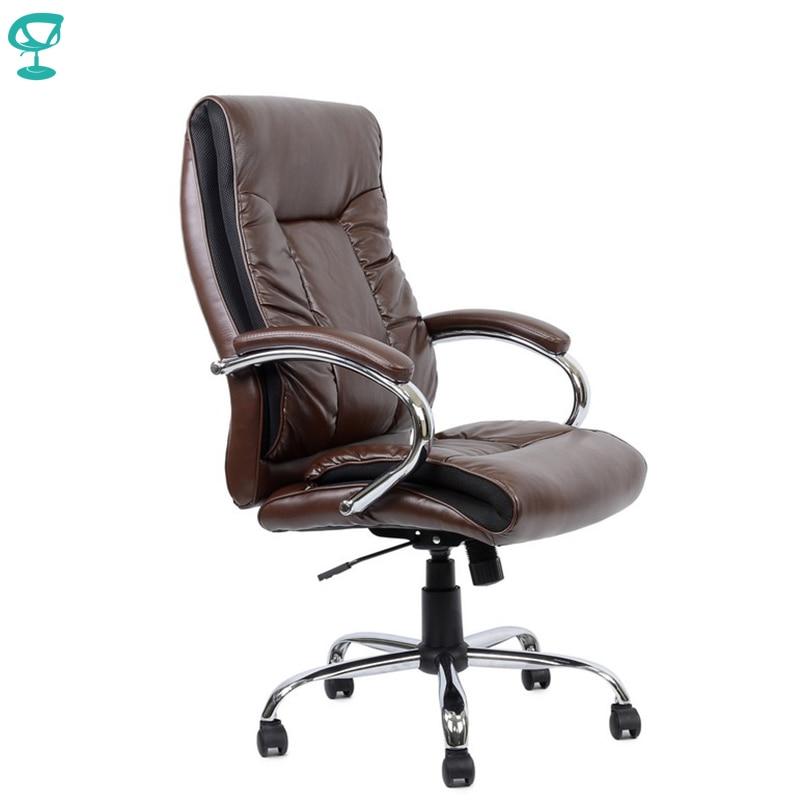 95160 silla de oficina marrón Barneo K-85 Reposabrazos de cuero cromado con correas de cuero envío gratis en Rusia