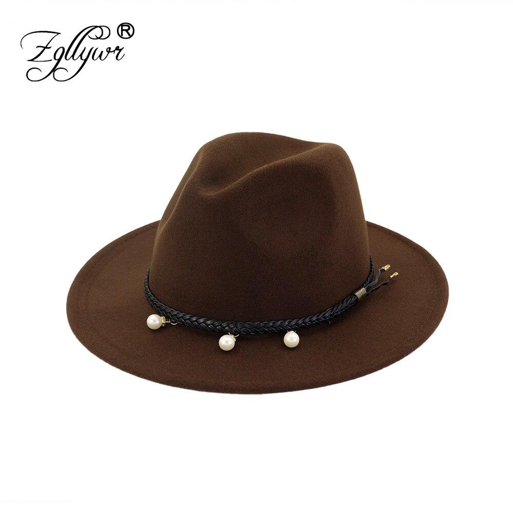 298be69c2 Zgllywr Pearl Wool Wide Brim Floppy Felt Trilby Fedora Hat For Elegant  Women Ladies Winter Autumn Cashmere Gangster Church Hat
