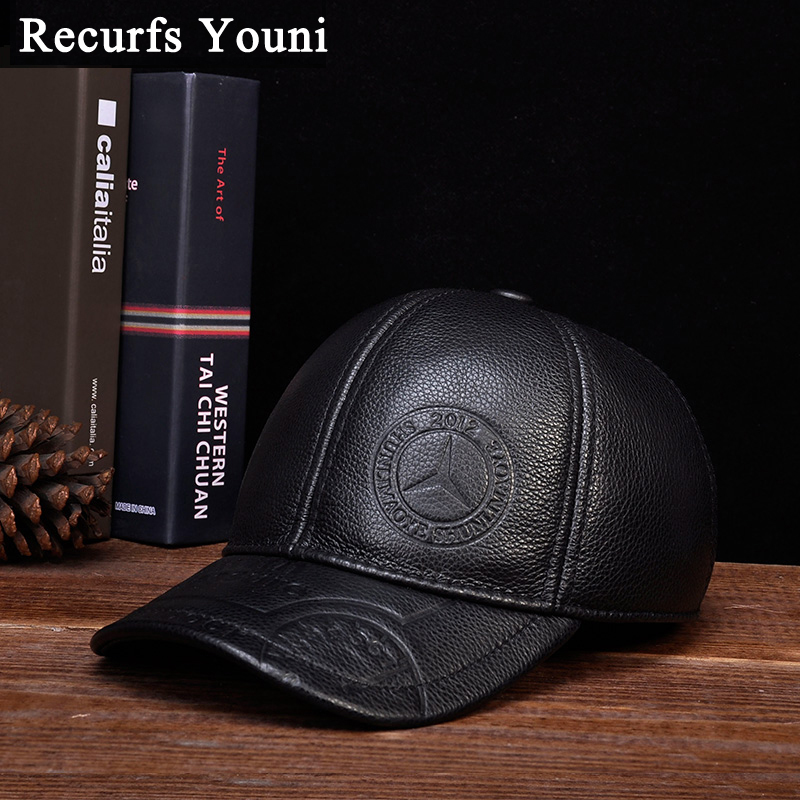 RY118 Male Cowhide Genuine Leather Wide Brim Baseball Caps Man Print Snapback Golf Social Polo Tricycle Black/Brown Dome Hats 2018 spring male genuine leather eagle print 56 60cm black brown baseball caps for man casual street glof gorras dad hat ry119