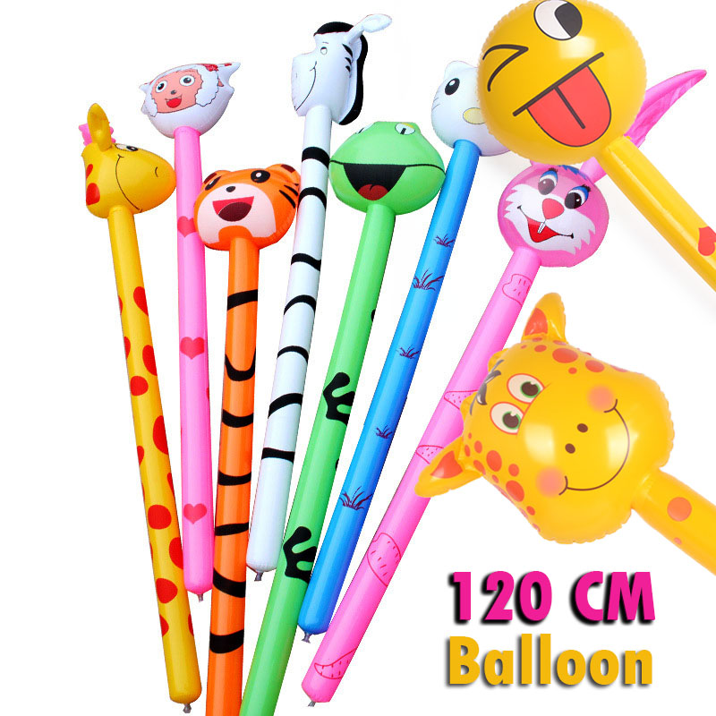 4Pcs Not Repeat 120cm Cartoon Inflatabel Animal Long Inflatable Hammer No Wounding Weapon Stick Baby Children Toys Random
