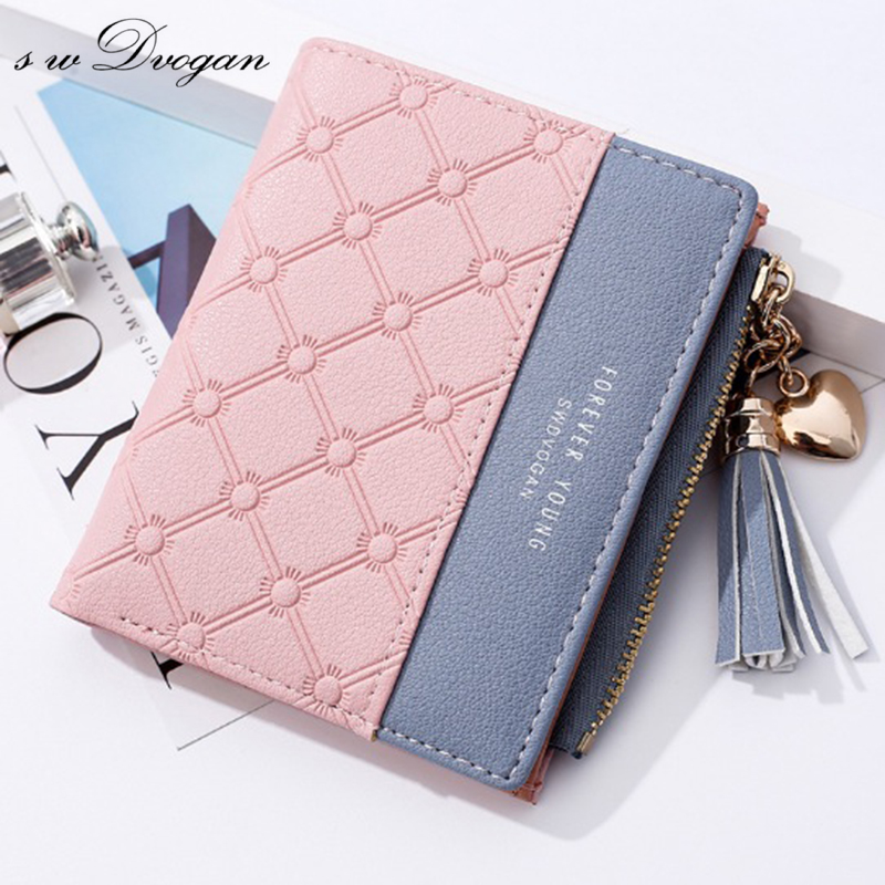 Tassels Zipper&Hasp Women Wallet For Coin Card Cash Invoice Fashion Lady Wallets Small Purse Short Solid Female Clutch Carteras simline fashion genuine leather real cowhide women lady short slim wallet wallets purse card holder zipper coin pocket ladies