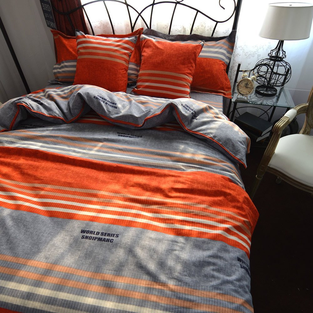 FADFAY Boho Orange Duvet Cover Set Colorful Striped Sheet Sets Bohemia Bedding Sets Fitted Sheet Style Queen King Size Bed Set
