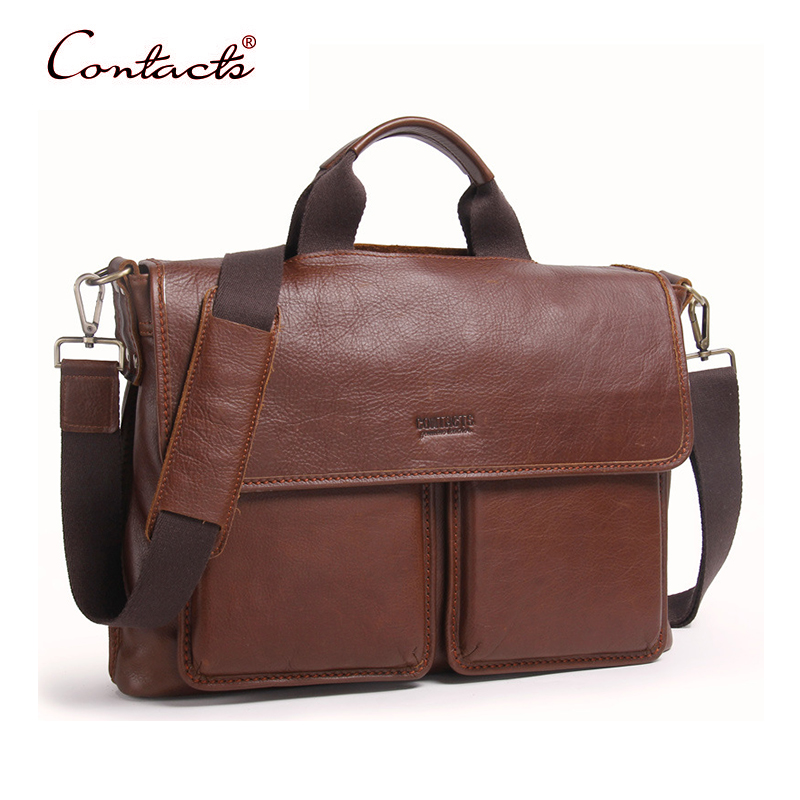 CONTACT'S Brand Men Handbag Genuine Leather Shoulder Bags Vintage Retro Tote Briefcases Crossbody Messenger Bag High Quality New ograff bag men genuine leather men messenger bags handbags famous brand designer briefcases leather crossbody bags men handbag