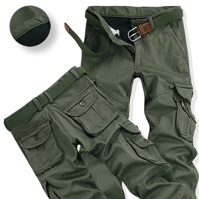 Mens Warm Pants For Winter Outdoor Climbing Training Thick Cargo Overalls Multi Pockets Baggy Thermal Pant For Worker Plus Size