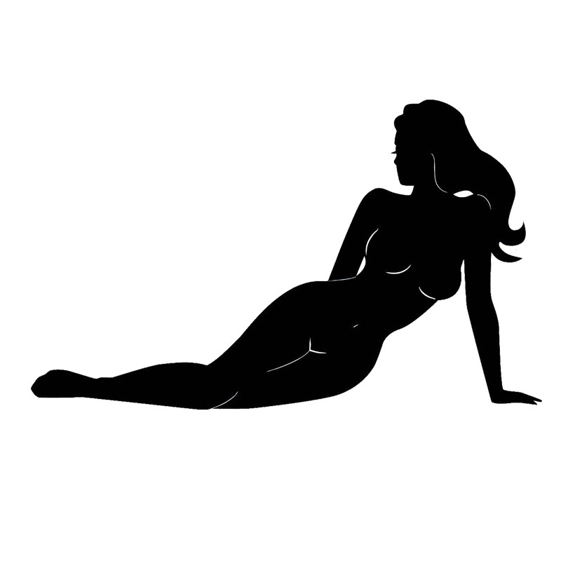 16.9*10.2CM Sexy Girl With No Clothes Bumper Sticker Fashion Styling Vinyl Car Decals Black/Silver C7-0820