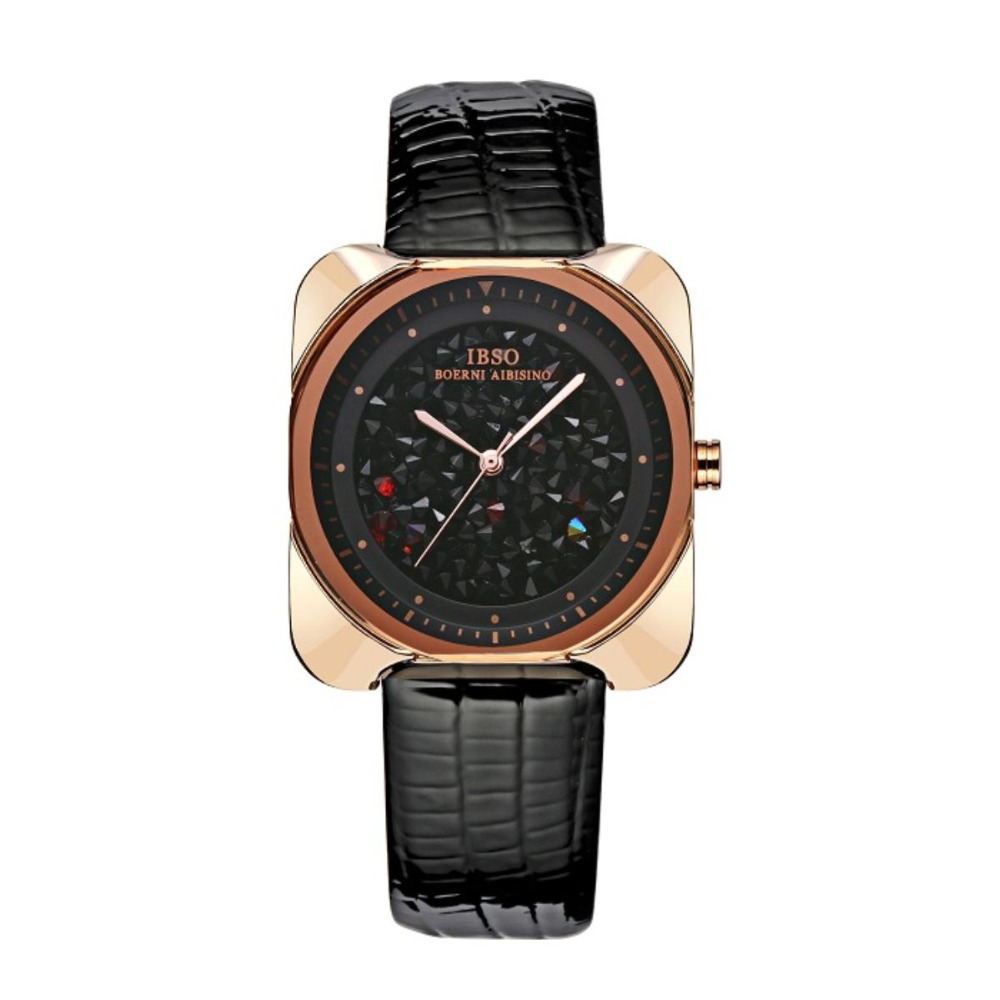IBSO Fashion Watch For Ladies Square Sapphire Crystal Wrist Watches Genuine Leather Strap S8146 kopeck women quartz watches fashion casual sapphire crystal glass surface waterproof nylon strap slim ladies wrist watch female