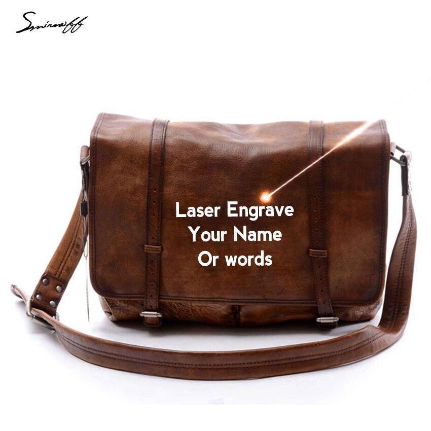 Bolso de Moda hombre marca famosa cuero vegetal bolso grabado láser lema Cuero auténtico bolso masculino mensajero retro Bolsas