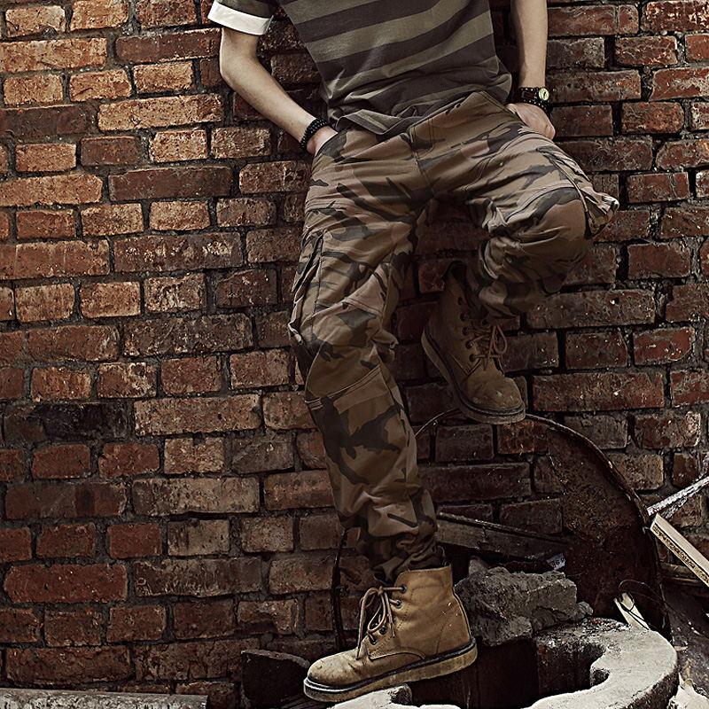2016 Neue Ankunft Casual Männer Lose Mehrfach Lange Länge Camouflage Gedruckt Militärarmee Cargo Pants Hosen Overalls