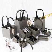 1 caja de regalo gris misteriosa de alta calidad, bolsa de regalo de papel para el Día de San Valentín, caja de joyería creativa para boda