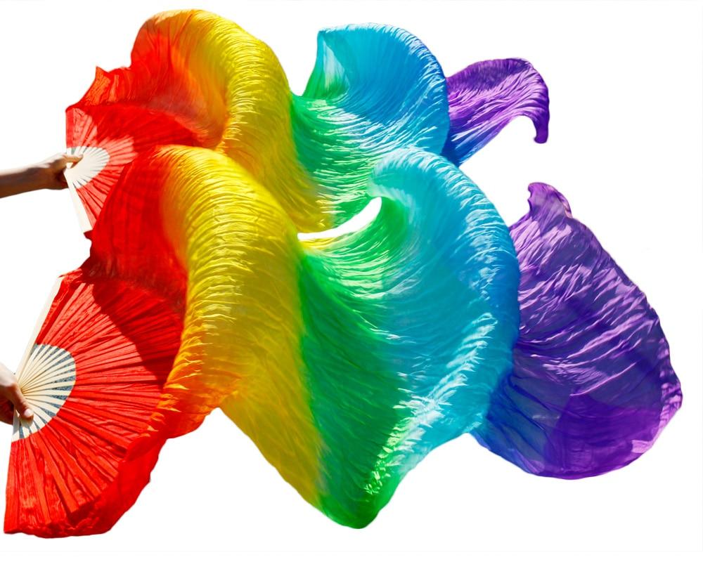 2018 حار بيع النساء 100٪ الحرير الحقيقي الرقص الشرقي مروحة الحجاب من الرقص الشرقي المشجعين rainbow اللون (2 قطع)