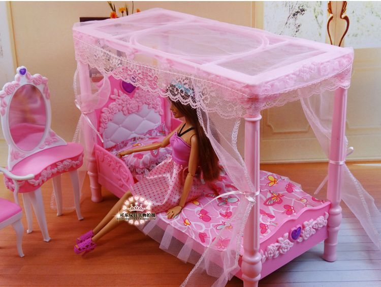 Princess Bed + Dresser + Chair Set / Dollhouse Furniture Puzzle Baby Toy  Bedroom Accessories Decoration