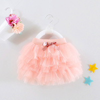 1 Year Old Baby Girl Skirt Tutu Pink Mini Layered Vestido 2017 Sweet Sash Toddler Baby