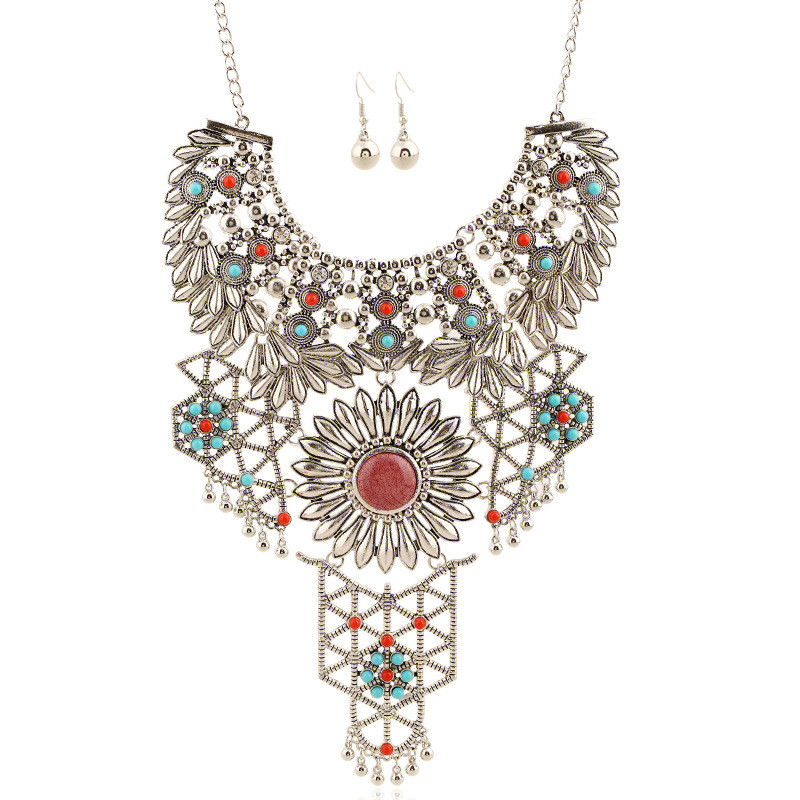 2016 new fashion vintage jewelry long Carving tassel rhinestone maxi necklace font b earrings b font