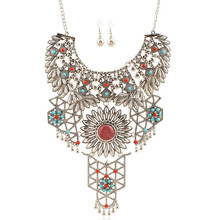 2016 new fashion vintage jewelry long  Carving  tassel rhinestone maxi necklace earrings set chuncky collar statement necklace