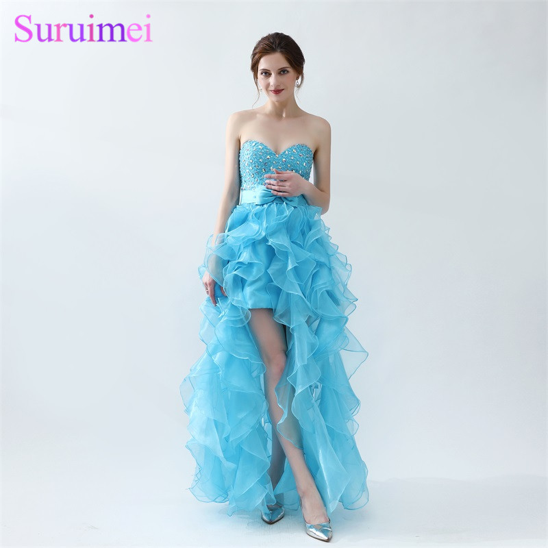 Light Blue Prom Dresses Short Front Long Back Beaded Organza Bow ...