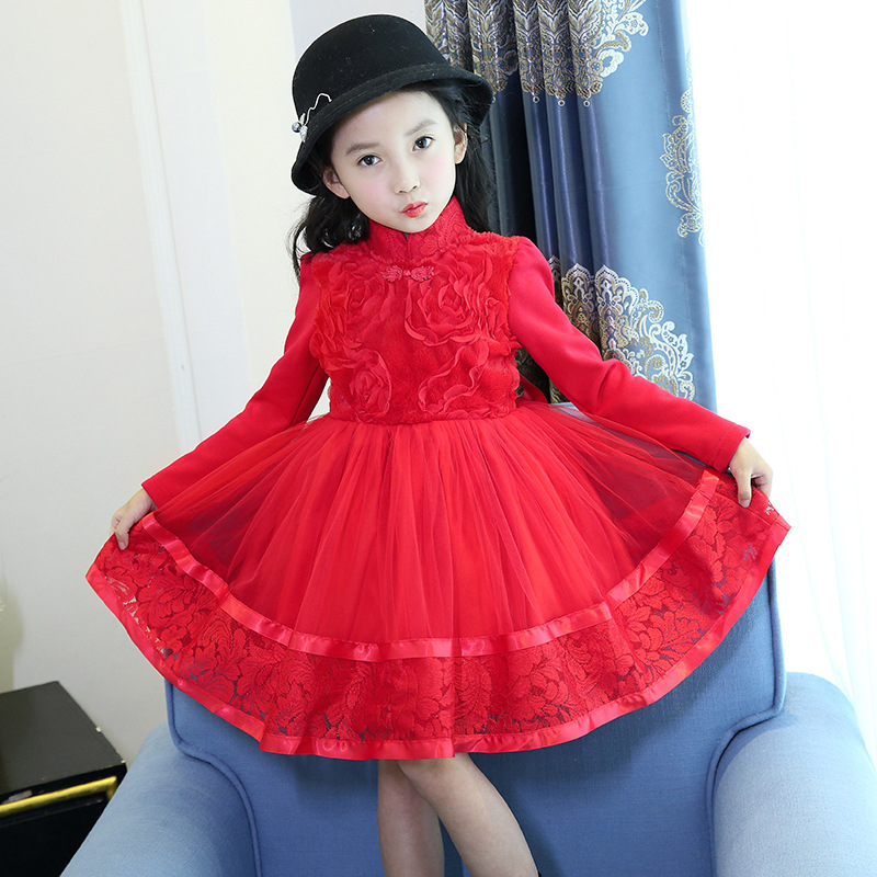 Girls winter dress red 2017 new fashion thick warm pink princess tutu dress for party 4 5 6 7 8 9 10 11 years children clothing 2017 brand snapback men baseball cap women caps hats for men bone casquette vintage sun hat gorras 5 panel winter baseball caps